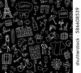 france sketch  seamless pattern ... | Shutterstock .eps vector #586608539