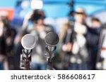 microphone in focus  blurred... | Shutterstock . vector #586608617