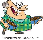 cartoon woman with bowls of... | Shutterstock .eps vector #586616219