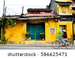 vietnamese women on bike in... | Shutterstock . vector #586625471