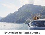 beautiful happy tourist girl... | Shutterstock . vector #586629851