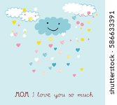 colorful and sweet card for... | Shutterstock .eps vector #586633391