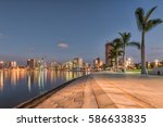 luanda's bay front walk at dusk | Shutterstock . vector #586633835