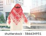 back view of arabian... | Shutterstock . vector #586634951