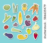 vector rainbow collection of... | Shutterstock .eps vector #586635479