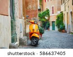 old fashioned orange motorbike...   Shutterstock . vector #586637405