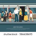 care for elderly scene in...   Shutterstock .eps vector #586638695