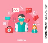 surgery flat composition with... | Shutterstock .eps vector #586643759