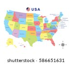 colorful map of united states... | Shutterstock .eps vector #586651631