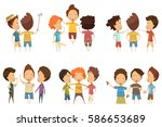 groups of boys in colorful... | Shutterstock .eps vector #586653689