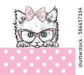 Cute Kitten Wearing Glasses An...
