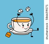 funny cartoon tea cup throws up ... | Shutterstock .eps vector #586659071