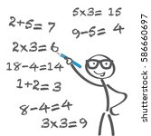teacher tries to solve math... | Shutterstock .eps vector #586660697