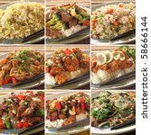 collection of asian food dishes.... | Shutterstock . vector #58666144