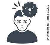 headache glyph icon. flat... | Shutterstock . vector #586666211