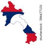 flag map of laos | Shutterstock .eps vector #586677131
