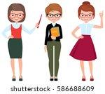 set of cartoon teacher in... | Shutterstock . vector #586688609