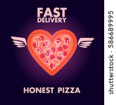 fast delivery honest pizza... | Shutterstock .eps vector #586689995