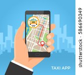 taxi service and gps navigation ... | Shutterstock .eps vector #586690349