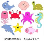 vector set of sea creatures.... | Shutterstock .eps vector #586691474