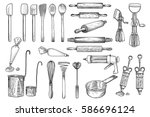 kitchen  tool  utensil  vector  ... | Shutterstock .eps vector #586696124