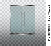 double glass doors to the... | Shutterstock .eps vector #586701221