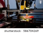 3d printer working and printing ... | Shutterstock . vector #586704269