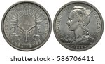 Small photo of French Territories of Afars and Issas coin 2 two francs 1968, antelope head with horns, feathers above, fish and shell below, Liberty in Phrygian cap with wings, poet with ships behind, aluminum