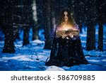 sorceress celebrating the magic ... | Shutterstock . vector #586709885