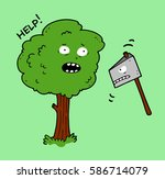 an old tree and an ax with a... | Shutterstock .eps vector #586714079