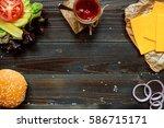 burger ingredients and sauce... | Shutterstock . vector #586715171
