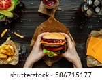 fresh tasty burgers with french ... | Shutterstock . vector #586715177