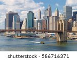 manhattan skyline with brooklyn ... | Shutterstock . vector #586716371