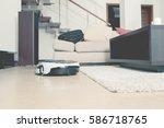 robot vacuum cleaner working in ... | Shutterstock . vector #586718765