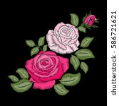 roses embroidery on black... | Shutterstock .eps vector #586721621