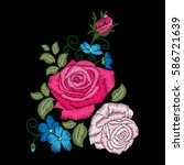 roses embroidery on black... | Shutterstock .eps vector #586721639