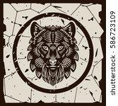 t shirt vector drawing wolf... | Shutterstock .eps vector #586723109