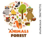 animals of forest part 1   ... | Shutterstock .eps vector #586740731