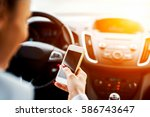 drive typing female. smart... | Shutterstock . vector #586743647