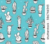seamless pattern with black and ... | Shutterstock .eps vector #586746545