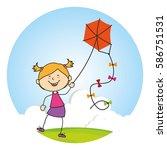kid flying kite icon   Shutterstock .eps vector #586751531