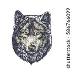 wolf dark on white background...   Shutterstock .eps vector #586766099