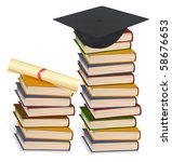 graduation cap and diploma... | Shutterstock .eps vector #58676653