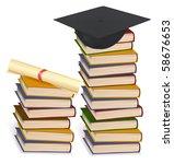 graduation cap and diploma... | Shutterstock .eps vector #58676653