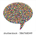 large group of stylized people... | Shutterstock .eps vector #586768349