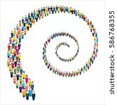 large group of stylized people... | Shutterstock .eps vector #586768355