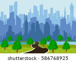 road to a city | Shutterstock .eps vector #586768925