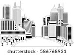 illustratin of downtown skyline | Shutterstock .eps vector #586768931