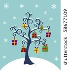 Christmas Tree with hanging gift boxes on a winter background. - stock photo