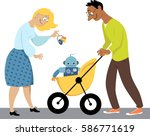 young family with a baby robot... | Shutterstock .eps vector #586771619